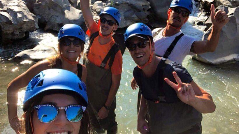 river trekking friends Enjoy the moment