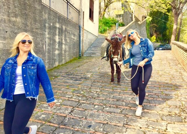 Donkey tour, smiling in Savoca